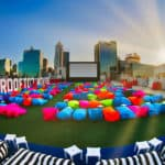 Rooftop Movies on parking garage in Perth CBD during the day